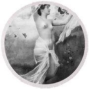 Nude With Butterflies Round Beach Towel
