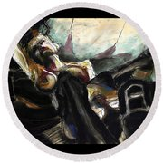 Nude With Chaps On Harley Round Beach Towel