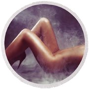 Nude Woman Body In Clouds Of Smoke Round Beach Towel