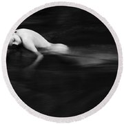 Nude Woman In River Round Beach Towel