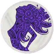 Nude Woman Silhouette Ultraviolet Round Beach Towel