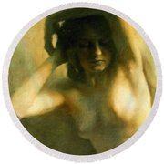 Nude Woman Round Beach Towel