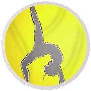 Nude Yoga Girl Gray Round Beach Towel