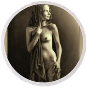 Nude Young Woman 1718.502 Round Beach Towel