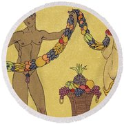 Nudes  Illustration From Les Chansons De Bilitis Round Beach Towel