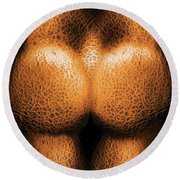 Nudist - Just Cheeky Round Beach Towel by Mike Savad
