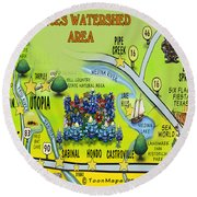 Nueces Watershed Area Round Beach Towel