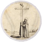 Nun Embracing The Holy Cross Round Beach Towel