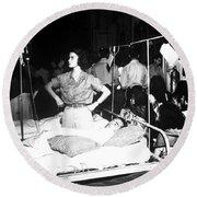 Nurse Adjusts Glucose Injection Round Beach Towel by Stocktrek Images