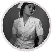 Nurse Rembrandt Lighting Round Beach Towel