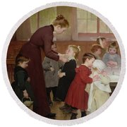 Nursery School Round Beach Towel by Hneri Jules Jean Geoffroy