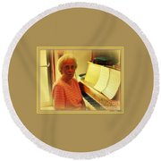 Nursing Home Piano Player Round Beach Towel