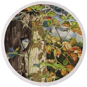Nuthatch And Creeper Round Beach Towel