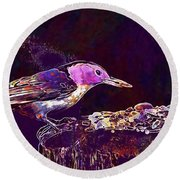 Nuthatch White Breasted Nuthatch  Round Beach Towel
