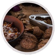Nuts And Spices Series - Five Of Six Round Beach Towel
