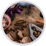 Nuts And Spices Series - Three Of Six Round Beach Towel
