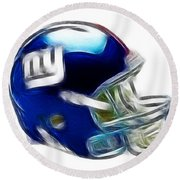 Ny Giants Helmet - Fantasy Art Round Beach Towel