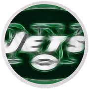 Ny Jets Fantasy Round Beach Towel by Paul Ward