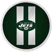 Ny Jets Football Round Beach Towel
