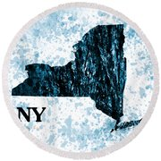 Ny State Map  Round Beach Towel