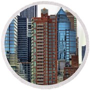Nyc Architecture Buildings Tall  Round Beach Towel