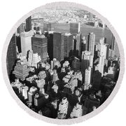 Nyc Bw Round Beach Towel