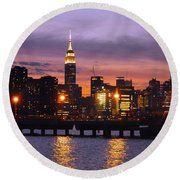Sunset City Lights Round Beach Towel