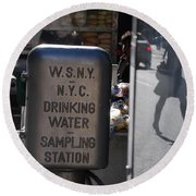 Nyc Drinking Water Round Beach Towel