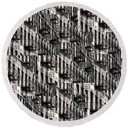 Nyc Fire Escapes Round Beach Towel