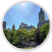 Nyc From Central Park Round Beach Towel