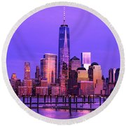 Nyc From Hoboken Round Beach Towel