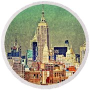 Nyc Scaped Round Beach Towel