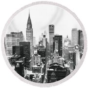 Nyc Snow Round Beach Towel by Vivienne Gucwa
