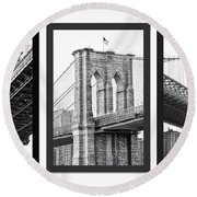 Nyc Three Bridges-east River Round Beach Towel