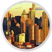 Nyc West Side In Gold And Blue  Round Beach Towel