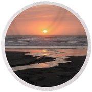 Nye Beach Sunset Round Beach Towel