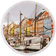 Nyhavn Area Copenhagen Round Beach Towel