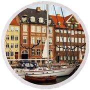 Nyhavn Area Of Copenhagen Round Beach Towel