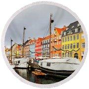 Nyhavn Harbour In Copenhagen Round Beach Towel