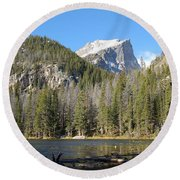 Nymph Lake In Rocky Mountain National Park Round Beach Towel