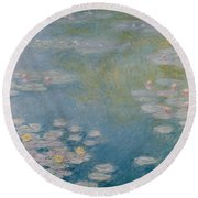Nympheas At Giverny Round Beach Towel