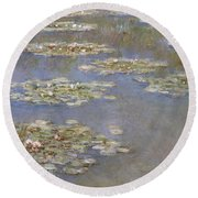 Nympheas Round Beach Towel by Claude Monet