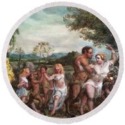 Nymphs And Satres Round Beach Towel