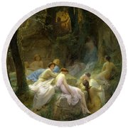 Nymphs Listening To The Songs Of Orpheus Round Beach Towel