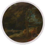 Nymphs Surprised By Satyrs Round Beach Towel