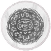O R E O In Black Negative Round Beach Towel
