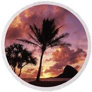 Oahu, Mokolii Island Round Beach Towel