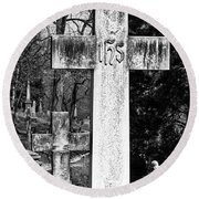 Oak Hill Cemetery Crosses #2 Round Beach Towel
