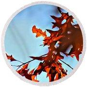 Oak Leaves 2 Round Beach Towel