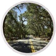 Oak Trees Along Live Oak Canyon Road Round Beach Towel